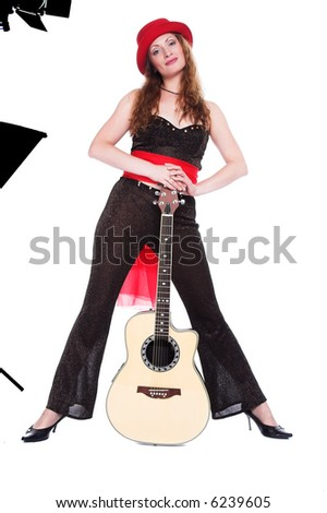 A series of photos of the person with a guitar