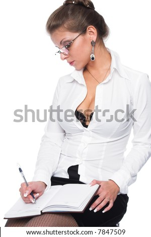 A series of photos on the secretary and the boss - stock photo