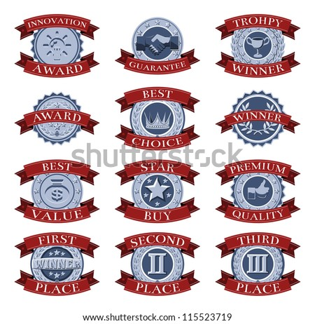 A series of red and blue victory reward shields like those awarded for different review or test categories or evaluations. - stock photo