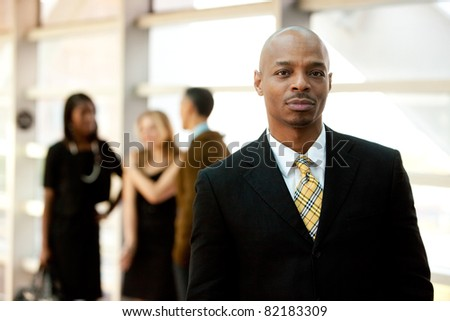 A serious African American business man - stock photo