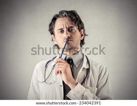 A serious doctor  - stock photo