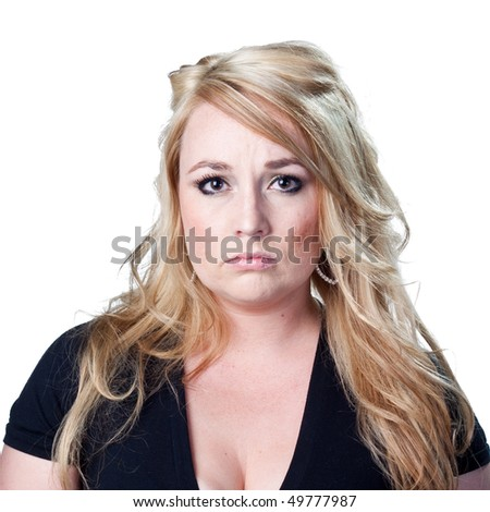 A serious look from a blond woman - stock photo