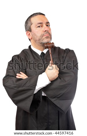 A serious male judge holding the gavel, isolated on white background - stock photo