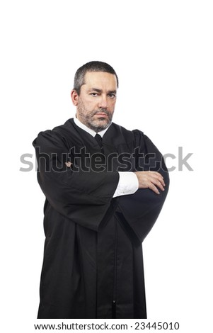 A serious male judge isolated on white background