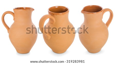 A set clay flagon with handle isolated on white background - stock photo