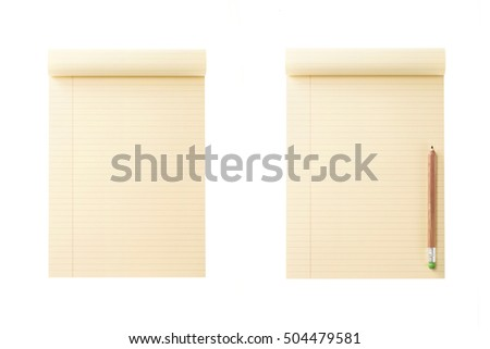 A set(group) of empty(blank) yellow(vintage, old) note(book) spread with wood pencil isolated white.