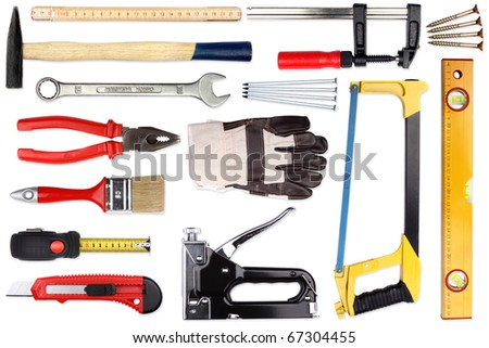 A Set of a lot of different tools and working materials - stock photo