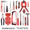 A Set of a lot of different tools on the white - stock photo