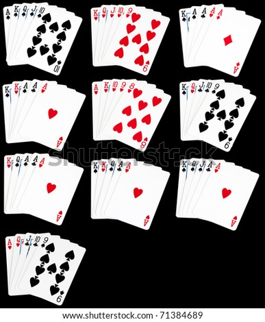 A set of all hands in poker from a royal flush to high card. - stock photo