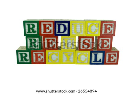 a set of alphabet blocks that spells reduce, reuse, and recycle in two rows