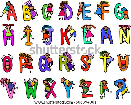 A set of alphabetical letters with happy and diverse boys and girls.
