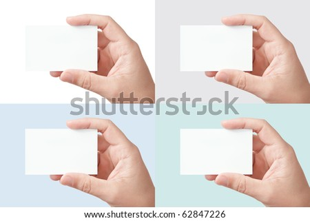 A set of 4 big-size images, closeup of businessman's hand holding white blank paper business card for your message (copy space), isolated on white, gray, light blue and light green backgrounds - stock photo