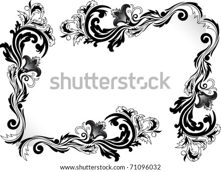 a set of black corner ornaments on a white background - stock photo