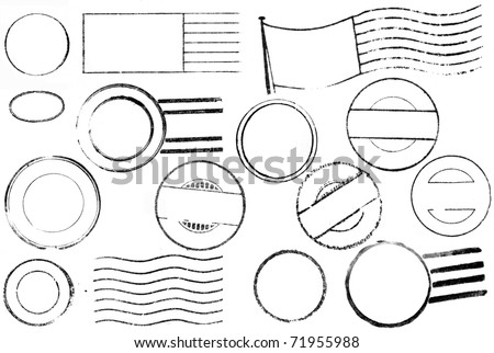 A set of blank postal marks and cancellations from the 1800s through the 1940s isolated on white. Ideal for bitmap brushes, retro collages, etc. - stock photo