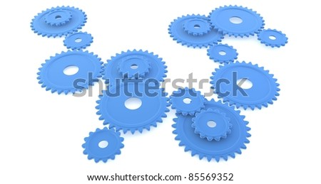 A set of blue cogs isolated against a white background - stock photo