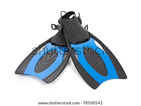 A set of blue diving fins on a white background - stock photo