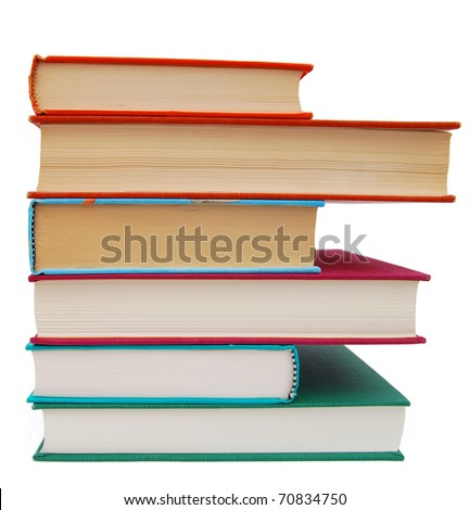 A set of book pile - stock photo