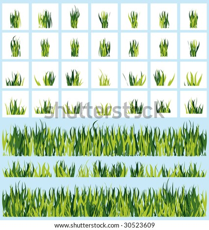 A set of borders with grass