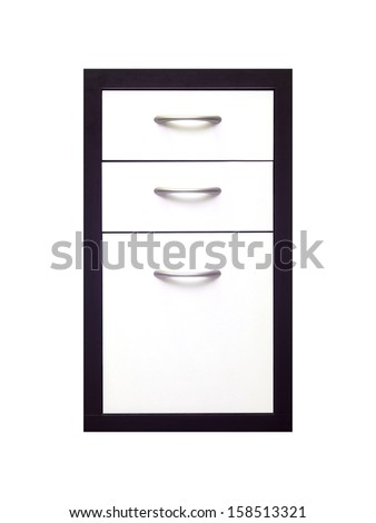 A set of cabinet draws isolated against a white background - stock photo