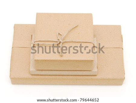 A set of cardboard gifts - stock photo