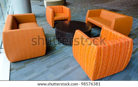 A set of chairs in public place - stock photo