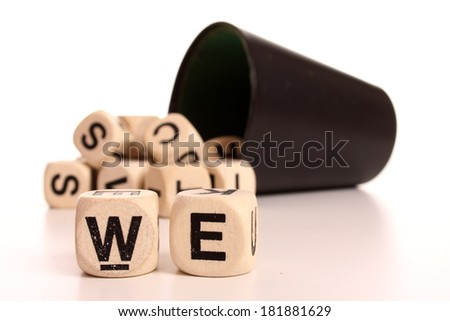 A set of character dices expressing the future - stock photo