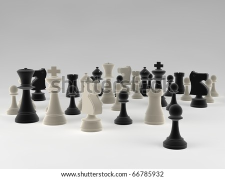 A set of chess pieces against a blank background - stock photo