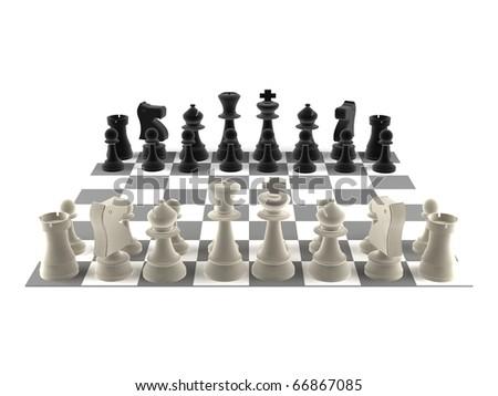 A set of chess pieces - black & white - stock photo
