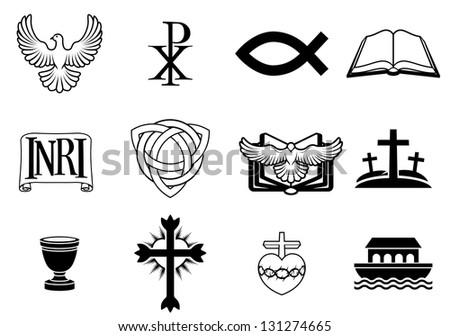 A set of Christian icons and symbols, including dove, Chi Ro, fish symbol, bible, INRI sign, trinity christogram, cross, communion cup, ark and more - stock photo