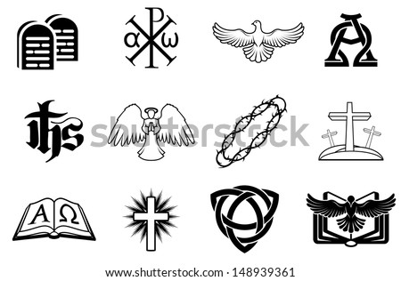 A set of Christian icons including angel, dove, alpha omega, Chi Ro and many more - stock photo