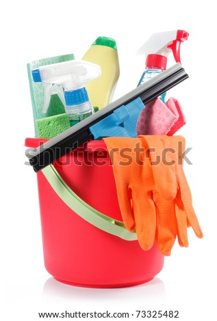 a set of cleaning products in red bucket