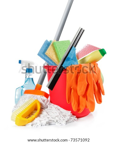 a set of cleaning products isolated on white background - stock photo