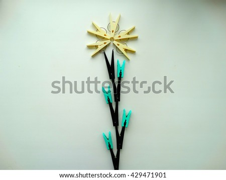 A set of clothespins housework drying clamp attach creative style abstract minimalism - stock photo