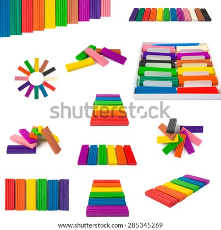 A set of colored Modeling clay. Modeling and design for children. - stock photo