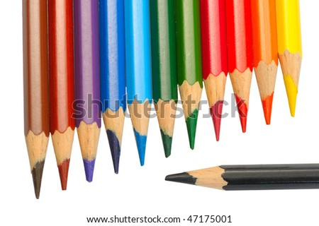 A set of colored pencils on a white background, isolated
