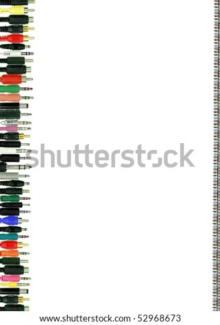A set of colorful connectors as a border isolated on white background - stock photo