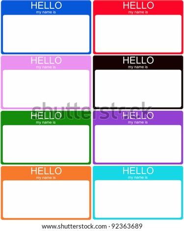 A set of 8 colorful Hello My Name is nametag stickers in blue, red, pink, black, green, purple, orange and aqua. - stock photo