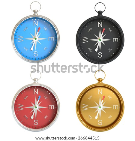 A set of compasses isolated on white background . 3d illustration high resolution