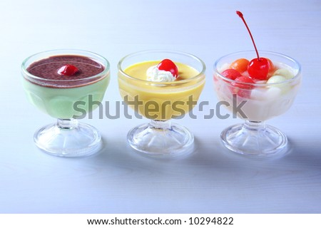 a set of delicious pudding desserts - stock photo