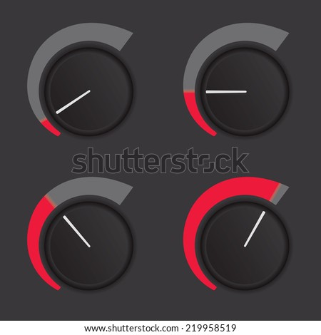 A set of dials at low to high levels. - stock photo