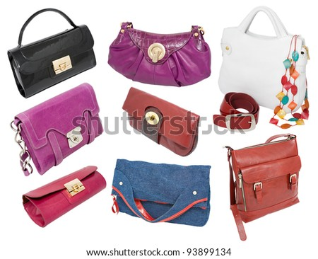 a set of different ladies handbags and purses