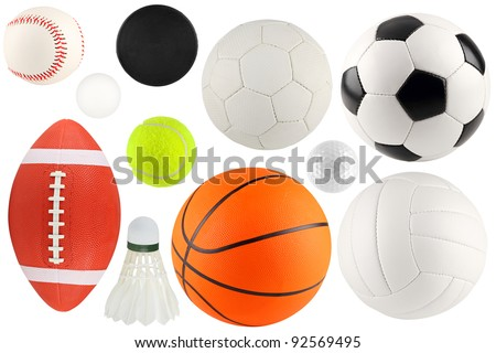 a set of different sport equipment and balls - stock photo