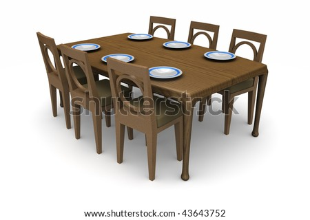 A set of dining room table and chairs with dinner plates on the table isolated on white - stock photo