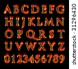 A set of fiery flaming letters and numbers isolated over black. - stock photo
