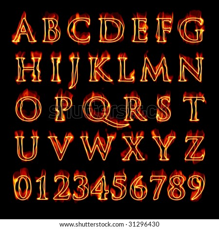 Blue Fire Letter And Numbers