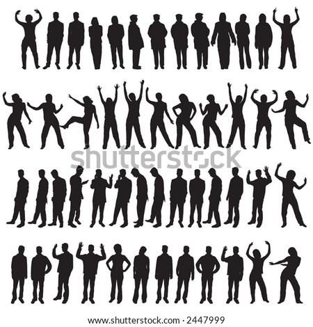 A set of fifty different people designs - stock photo