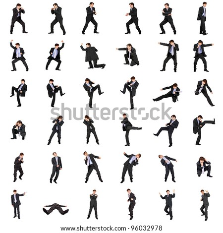 A set of fighting businessmen isolated on white background