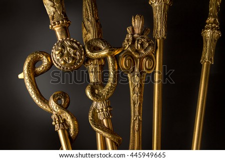 A set of  Fireplace accessories for the fireplace on a black background - stock photo
