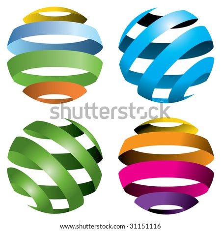 A set of four abstract globes