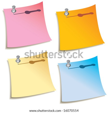 A set of four blank notes with push pins in them - stock photo